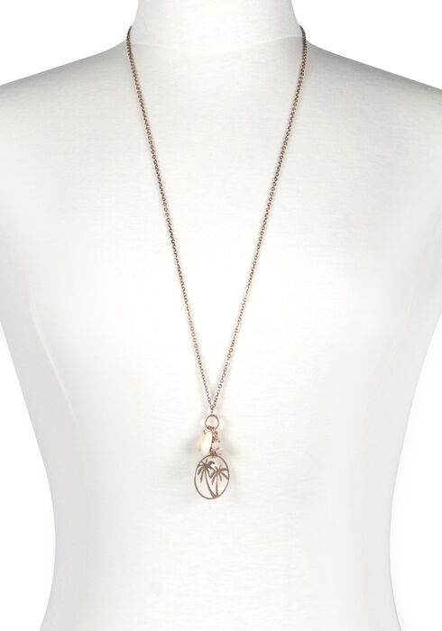 Women's Palm Tree Necklace, GOLD, hi-res