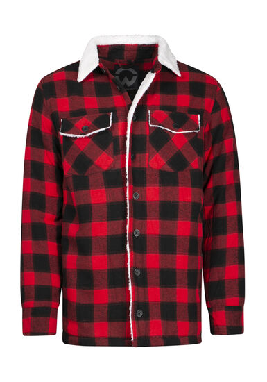 Men's Sherpa Lined Jacket, RED, hi-res