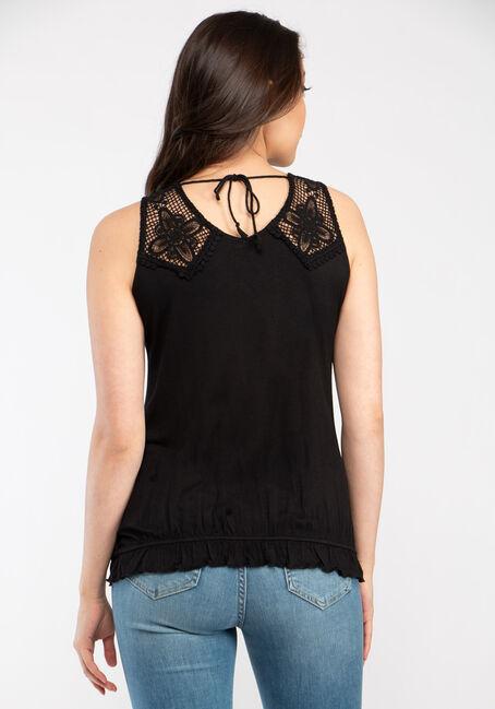 Women's Crochet Wrap Front Tank, BLACK, hi-res