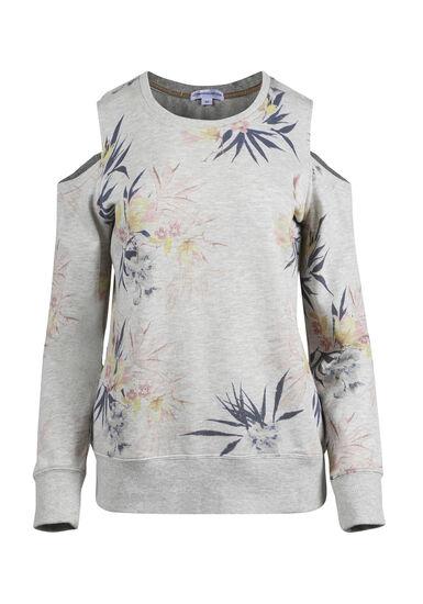 Women's Floral Cold Shoulder Fleece, OATMEAL, hi-res