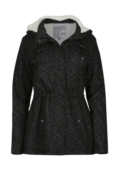 Ladies' Hooded Knit Jacket, BLK/WHT, hi-res