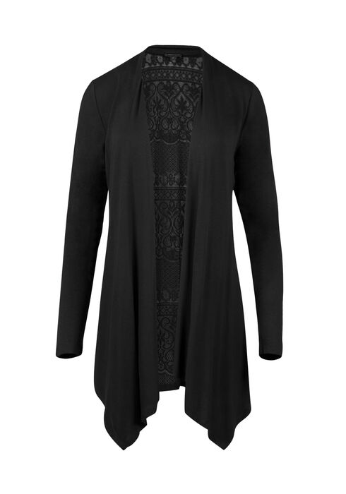 Ladies' Lace Back Open Cardigan, BLACK, hi-res