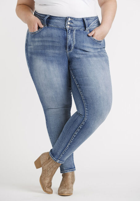 Women's Plus High Rise 3 Button Skinny