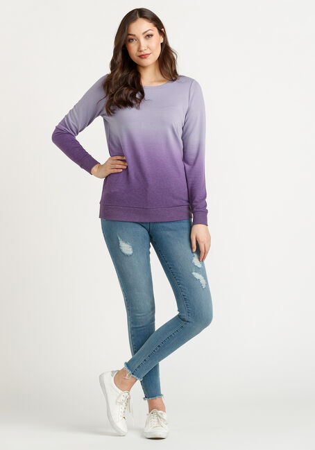 Women's Ombre Sweatshirt, PURPLE, hi-res