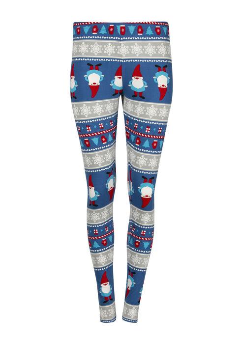 Women's Gnome Holiday Legging, BLUE, hi-res