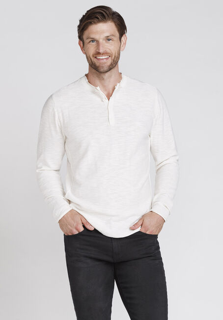 Men's Henley Sweater, IVORY, hi-res