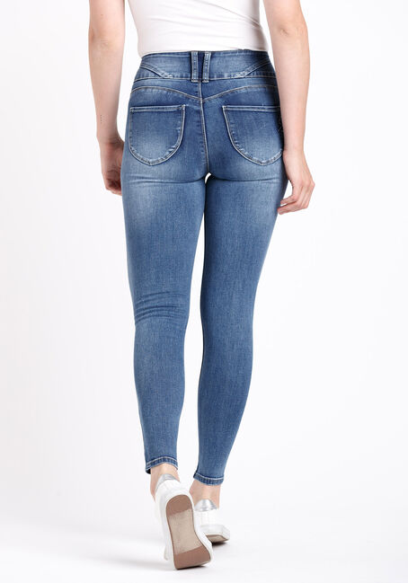 Women's 3 Button High Rise Skinny Jeans, MEDIUM WASH, hi-res
