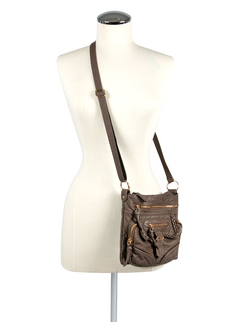 Women's Braided Trim Cross Body Bag, TAUPE, hi-res