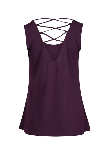 Women's Butterfly Cage Back Tank, PLUM, hi-res