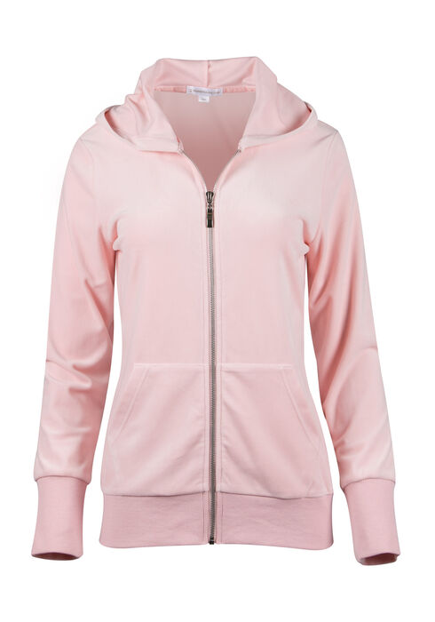 Ladies' Velour Zip Up, PINK, hi-res