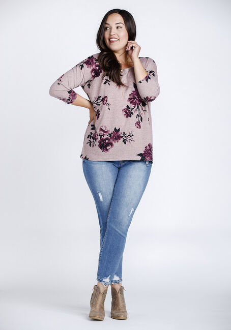 Women's Floral Dolman Tunic Top, PINK, hi-res
