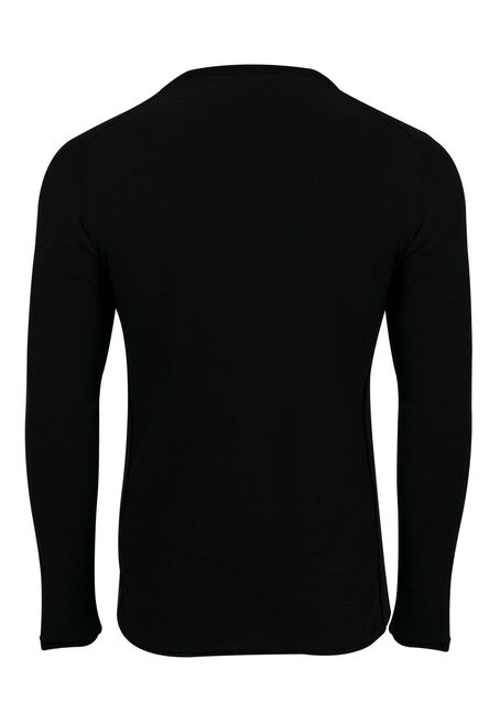 Men's Sweater Knit Henley Top, BLACK, hi-res
