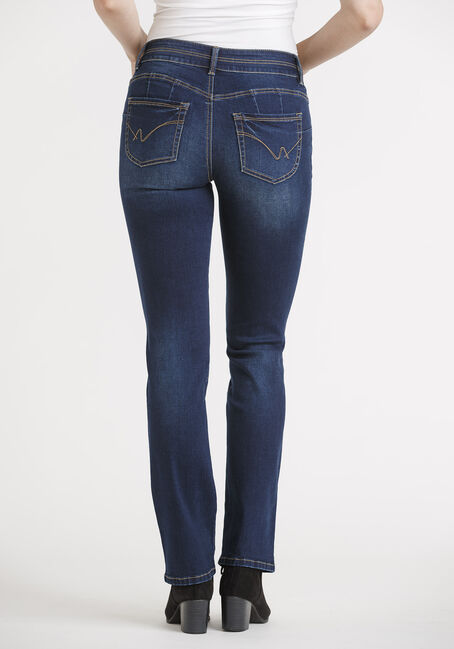 Women's 2 Button Straight Leg Jeans, DARK WASH, hi-res