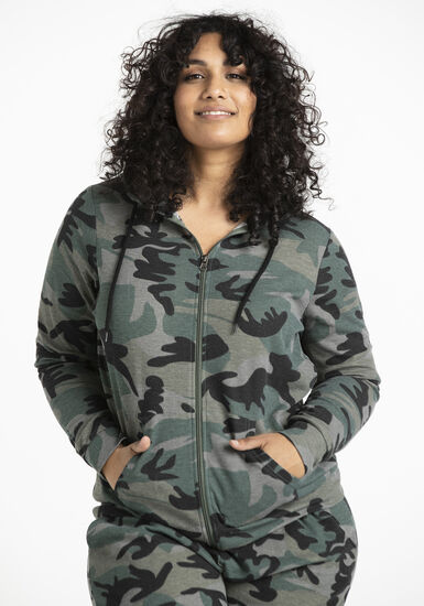 Women's Thermal Camo Zip Front Hoodie, OLIVE, hi-res