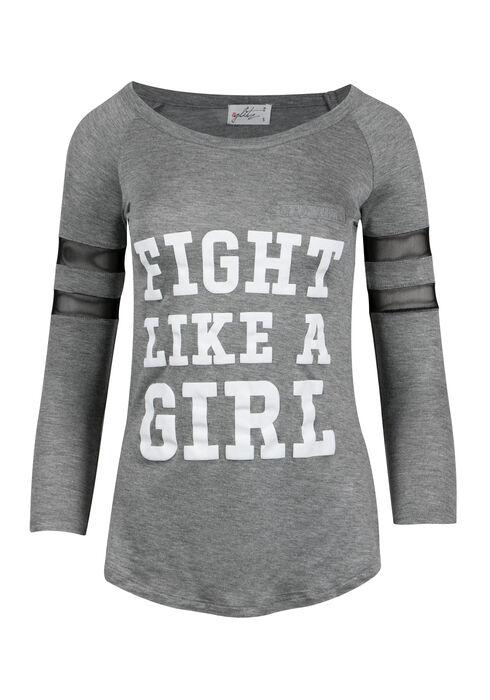 Ladies' Fight Like a Girl Football Tee, HEATHER GREY, hi-res