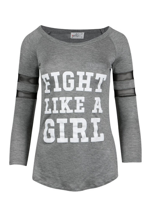 Ladies' Plus Size Fight Like a Girl Tee, HEATHER GREY, hi-res