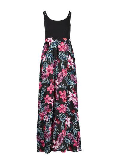 Women's Tropical Flower Maxi Dress, BLACK, hi-res
