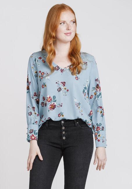 Women's Floral Lace Insert Blouse, MISTY BLUE, hi-res