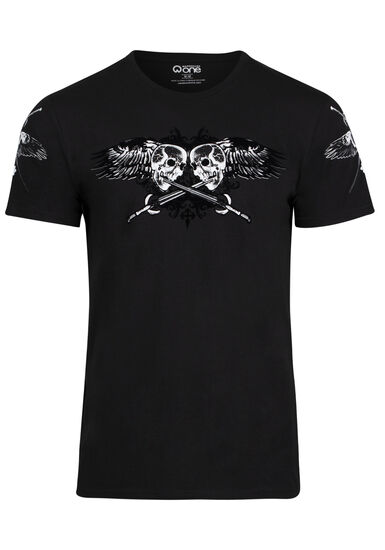 Men's Flocked Skull Tee, BLACK, hi-res