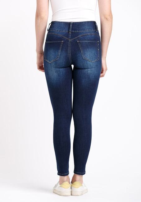 Women's 3 Button High Rise Destroyed Skinny Jeans, DARK WASH, hi-res