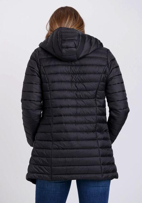 Women's Hooded Puffer Jacket, BLACK, hi-res