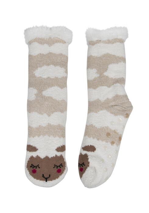 Ladies' Sheep Slipper Socks, TAUPE, hi-res