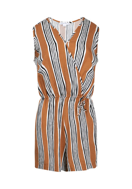 Women's Stripe Wrap Front Romper
