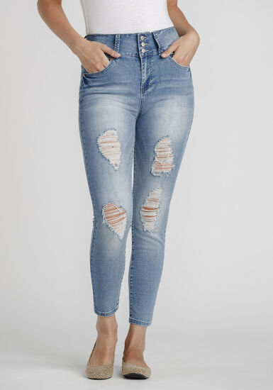 Women's Super High Rise Distressed Skinny Jeans, LIGHT WASH, hi-res