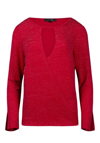 Women's Shimmer Wrap Front Top, RED, hi-res