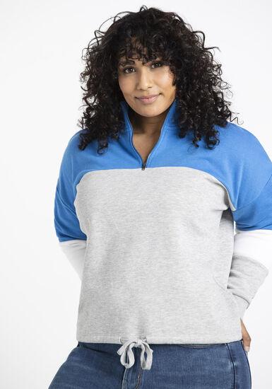 Women's Colour block zip neck popover, BRILLIANT BLUE, hi-res