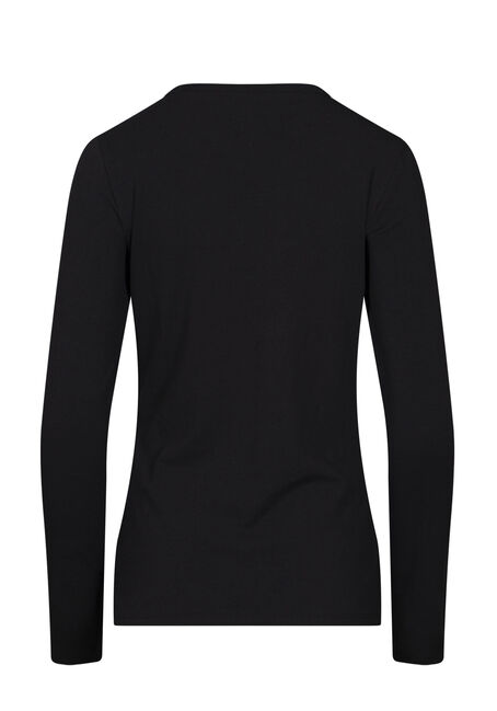 Women's Long Sleeve Tee, BLACK, hi-res