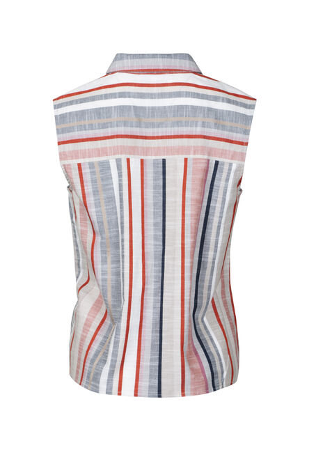 Women's Stripe Tie Front Shirt, IVORY, hi-res