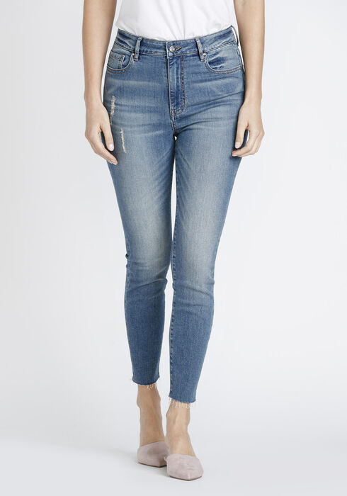 Women's High Rise Ankle Skinny Jeans, MEDIUM WASH, hi-res