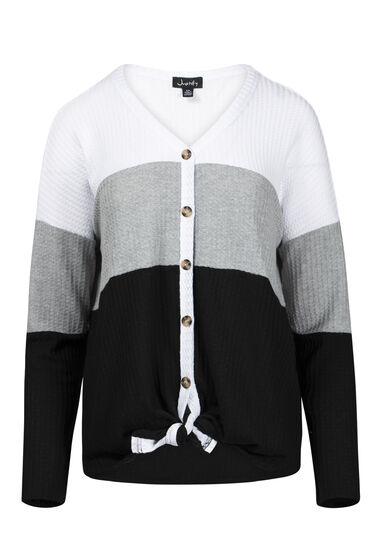 Women's Colour Block Tie Hem Shirt, BLACK, hi-res