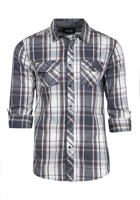 Men's Roll Sleeve Plaid Shirt