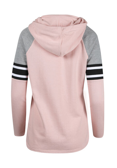 Ladies' Zip Front Football Hoodie, ROSE QUARTZ, hi-res