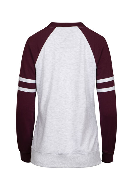 Women's Football Crew Neck Fleece, Hthr Grey/Burgundy, hi-res
