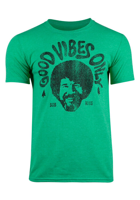 Men's Bob Ross Good Vibes Only Tee, KELLY GREEN, hi-res