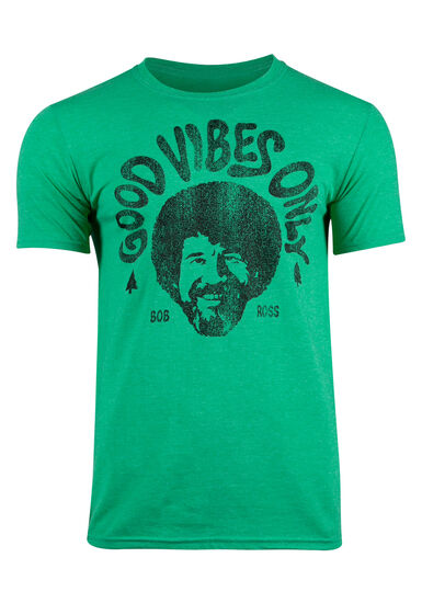 Men's Bob Ross Good Vibes Only Tee, KELLY GREEN, hi-res
