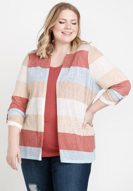 Women's Roll Sleeve Striped Cardigan