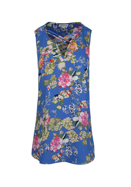 Women's Cage Neck Floral Tank