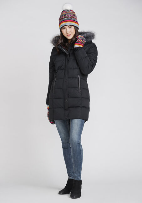 Women's Quilted Parka, BLACK, hi-res