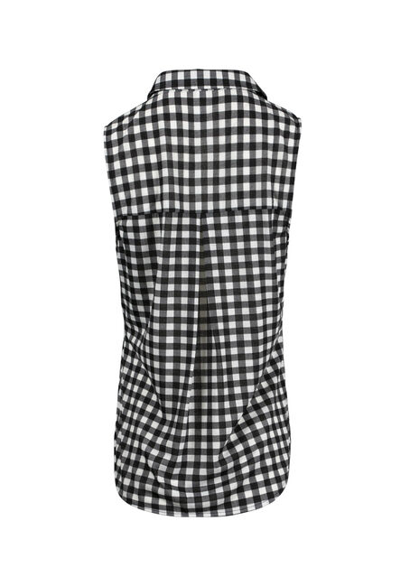 Women's Knit Gingham Shirt, BLK/WHT, hi-res