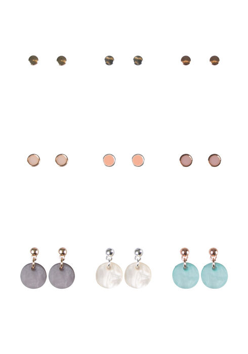 Women's 9 Pair Earring Set, MIXED METALS, hi-res