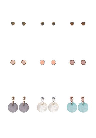 Women's 9 Pair Earring Set, MIXED METALS, hi-res