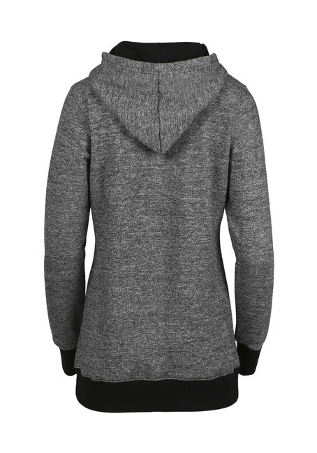Ladies' Textured Tunic Hoodie, BLK/WHT, hi-res