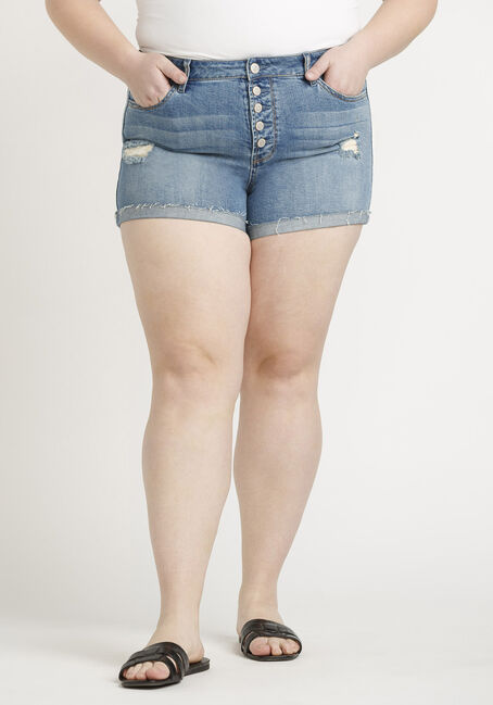 Women's High Rise Plus Exposed Button Fly Destroyed Cuffed Short