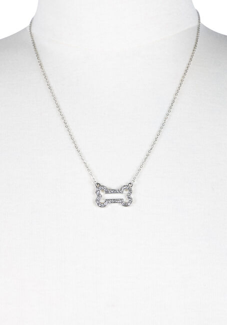 Ladies' Rhinestone Bone Necklace, SILVER, hi-res
