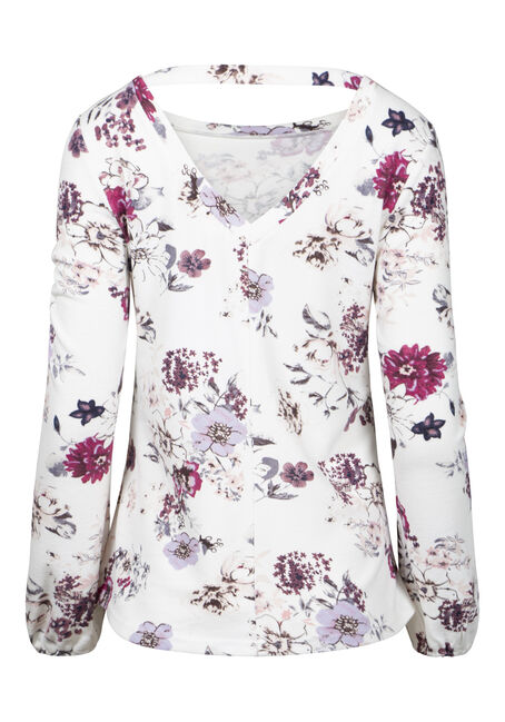 Women's Floral V-Back Top, WINTER WHITE, hi-res