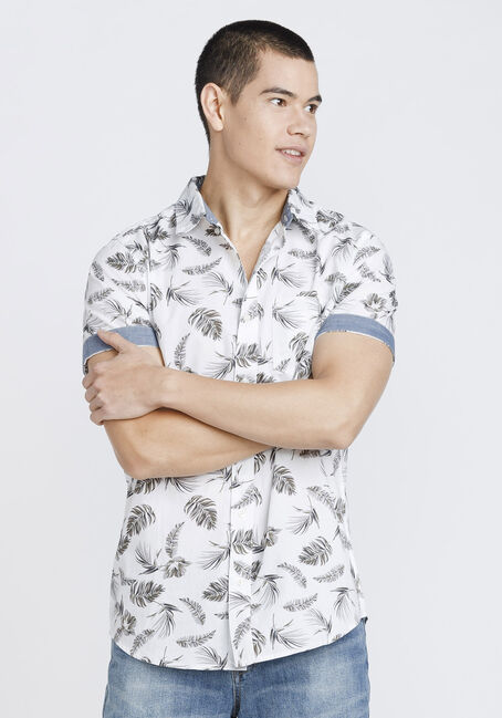 Men's Palm Print Shirt, WHITE, hi-res